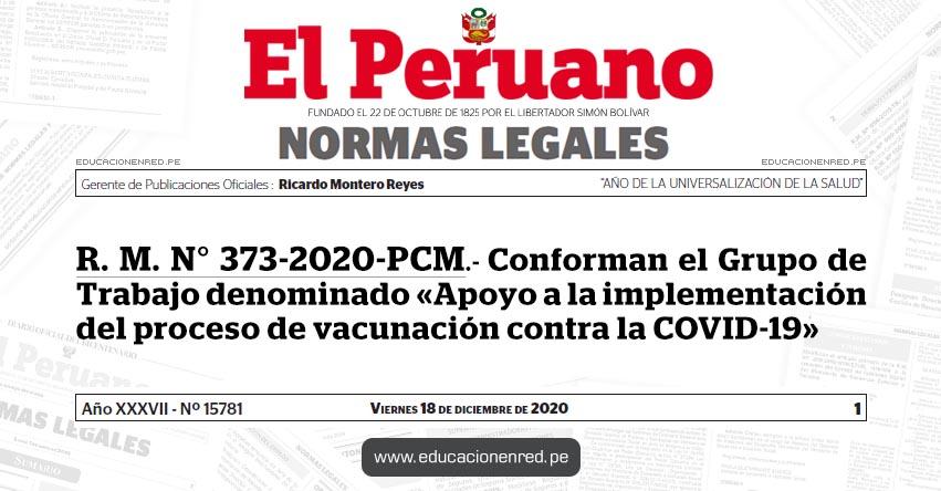 R. M. N° 373-2020-PCM.- Conforman el Grupo de Trabajo denominado «Apoyo a la implementación del proceso de vacunación contra la COVID-19»