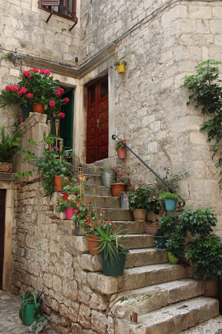 Flowers on the steps at Trogir Old Town in Croatia