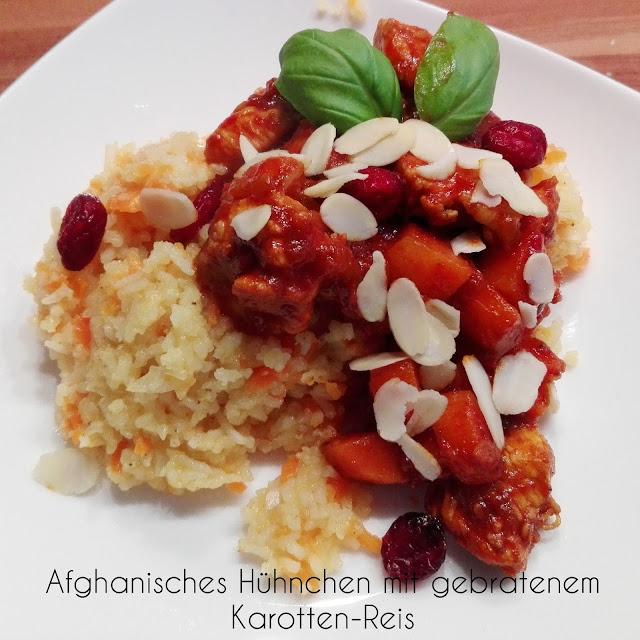 [Food] Afghanisches Hühnchen mit gebratenem Karotten-Reis