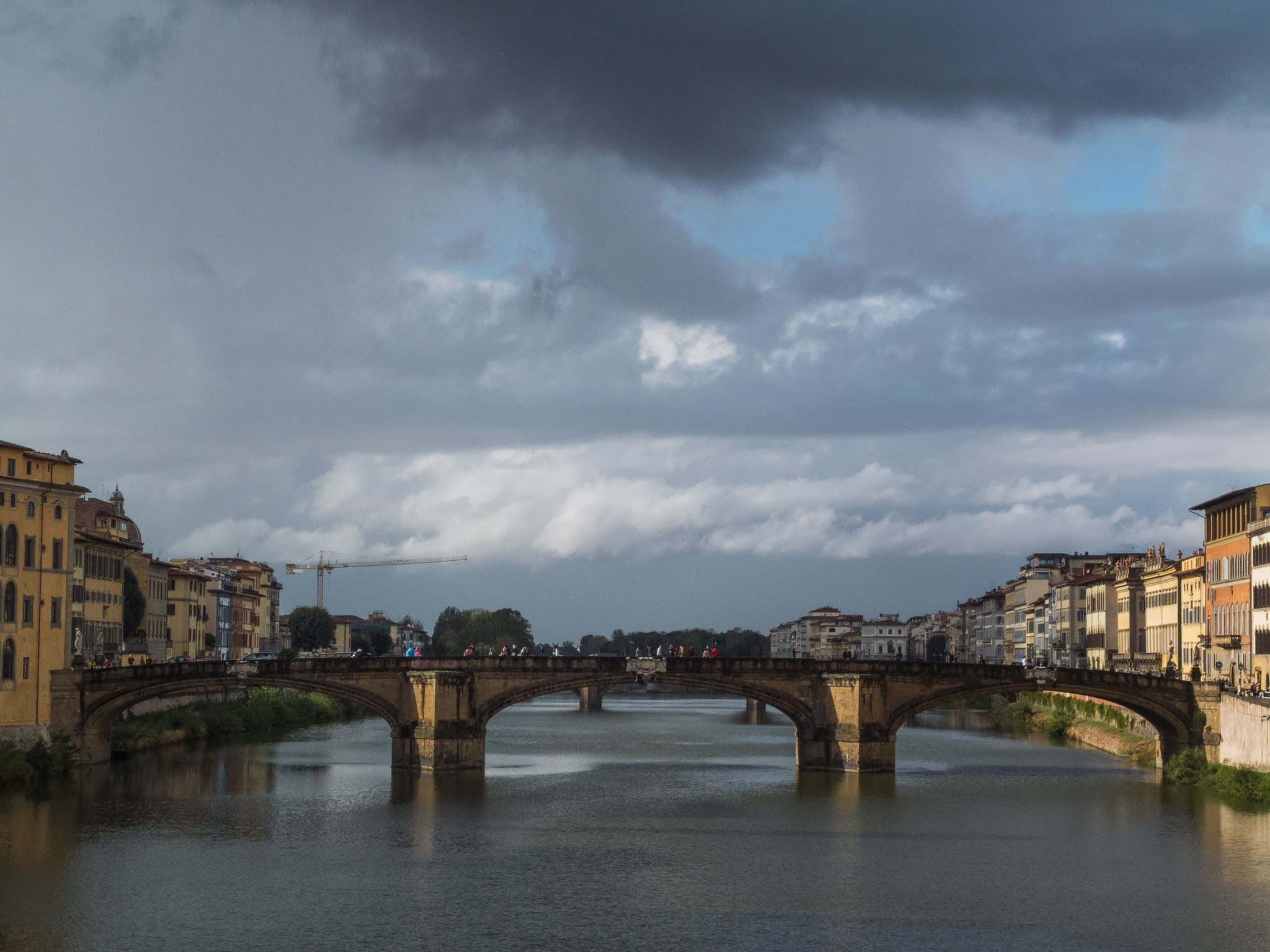 View of the Ponte Santa Trinita over the Arno River in Florence.