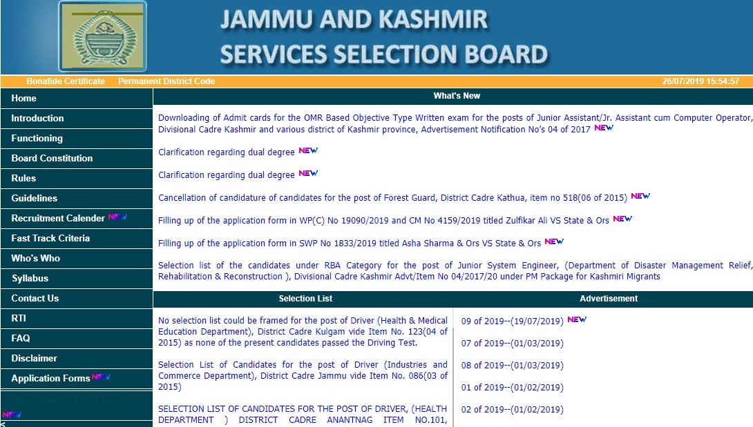 jammu And Kashmir Service Selection Board