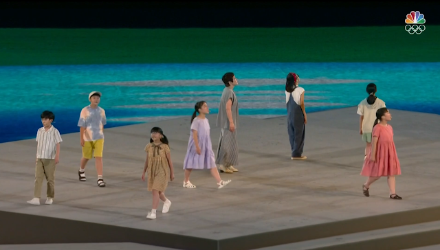 Tokyo 2021 Olympic Games Closing Ceremony Japanese kids walk to the moon