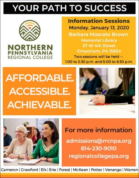 1-13 Northern PA Regional College Info Sessions