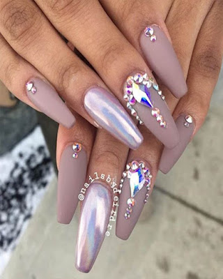 Elegant coffin nail designs with rhinestones mate