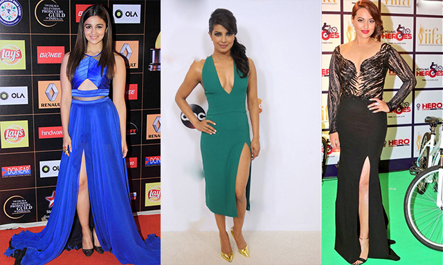 Bollywood Celebs In Thigh High Slit Dress