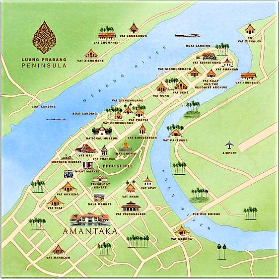 tourist map luang prabang laos
