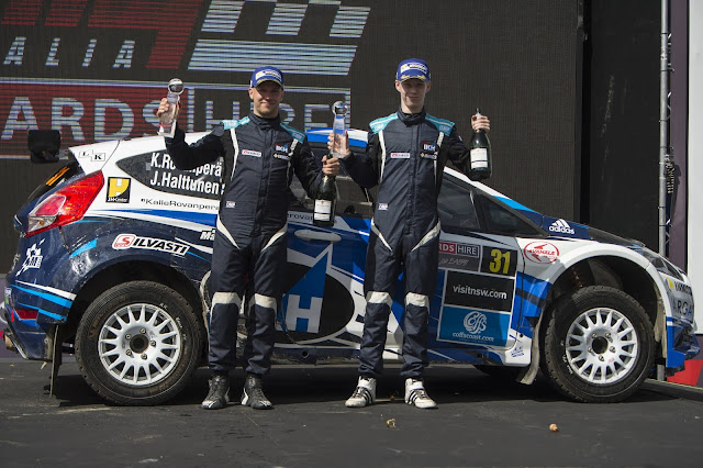 Kelle Rovanpera with his co-driver, Ford Fiesta R5 WRC and Champagne