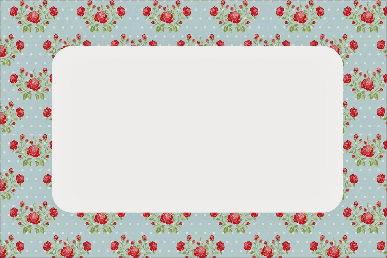 Para hacer invitaciones, tarjetas, marcos de fotos o etiquetas, para imprimir gratis de Shabby Chic de Rosas Rojas en Fondo Celeste.