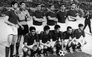 The Italy team that won the 1968 European Championships with Facchetti, the captain, at the back, on the far right