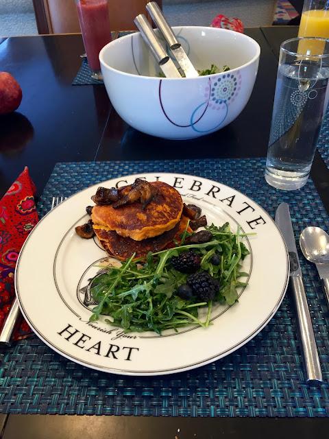 Swet Potato Pancakes with Maple Balsamic Mushrooms on Livliga Celebrate Plate