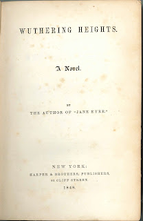 "A title page for ""Wuthering Heights,"" being attributed to the author of Jane Eyre."