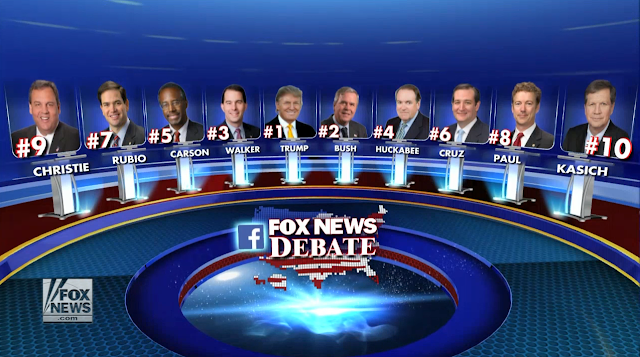Fox News Republican GOP Debate Top Ten August 6 Donald Trump Bush Walker Huckabee