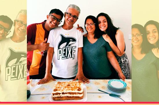 Eudes Januário com sua família. Café com Jornalista