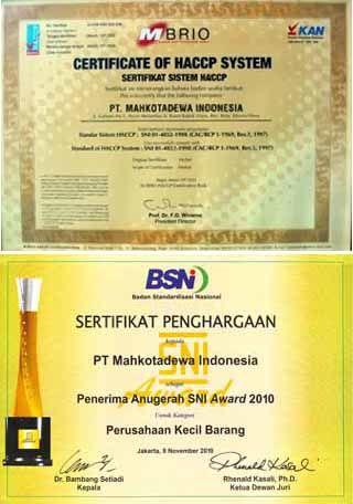 HACCP System Certificate dan GMP