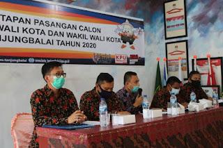 KPU Tanjungbalai Tetapkan 3 Paslon Peserta Pilkada 2020