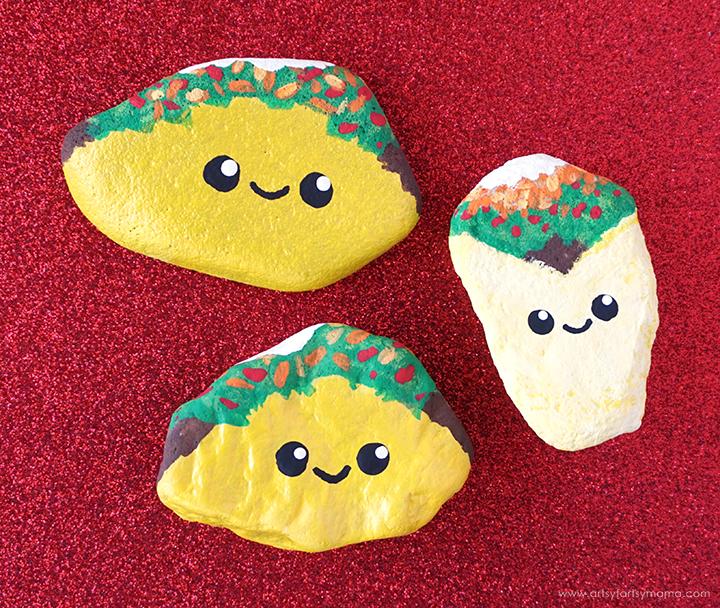 Diy Taco Painted Rocks Artsy Fartsy Mama