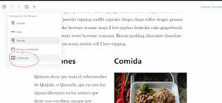Asegurándonos de haber seleccionado el bloque de columnas, dentro del editor de Wordpress.