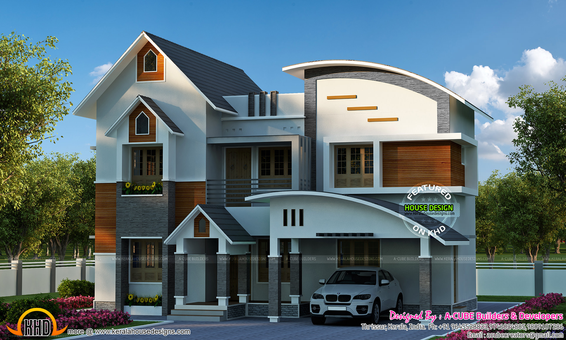 Sloping Curved Roof Mix Home Kerala Home Design