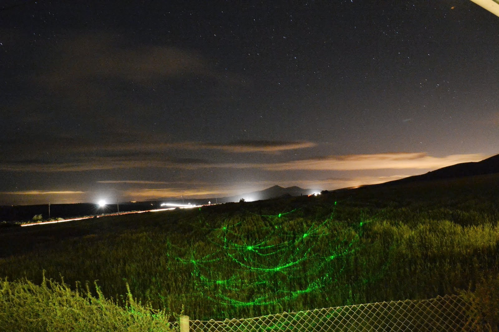 night photography with green laser