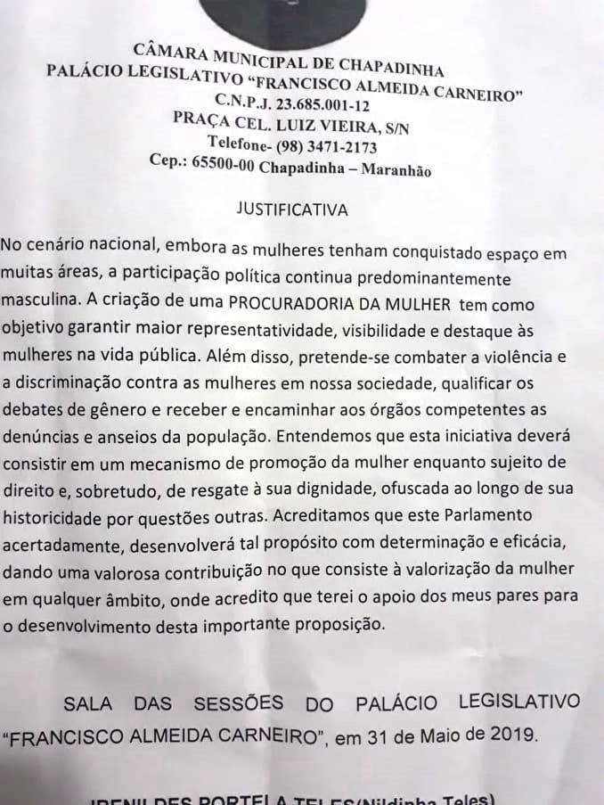 Câmara Municipal de Chapadinha aprova criação da Procuradoria Especial da Mulher