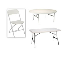 CHAIR: $1 RECTANGULAR TABLES $7  ROUND TABLE $8