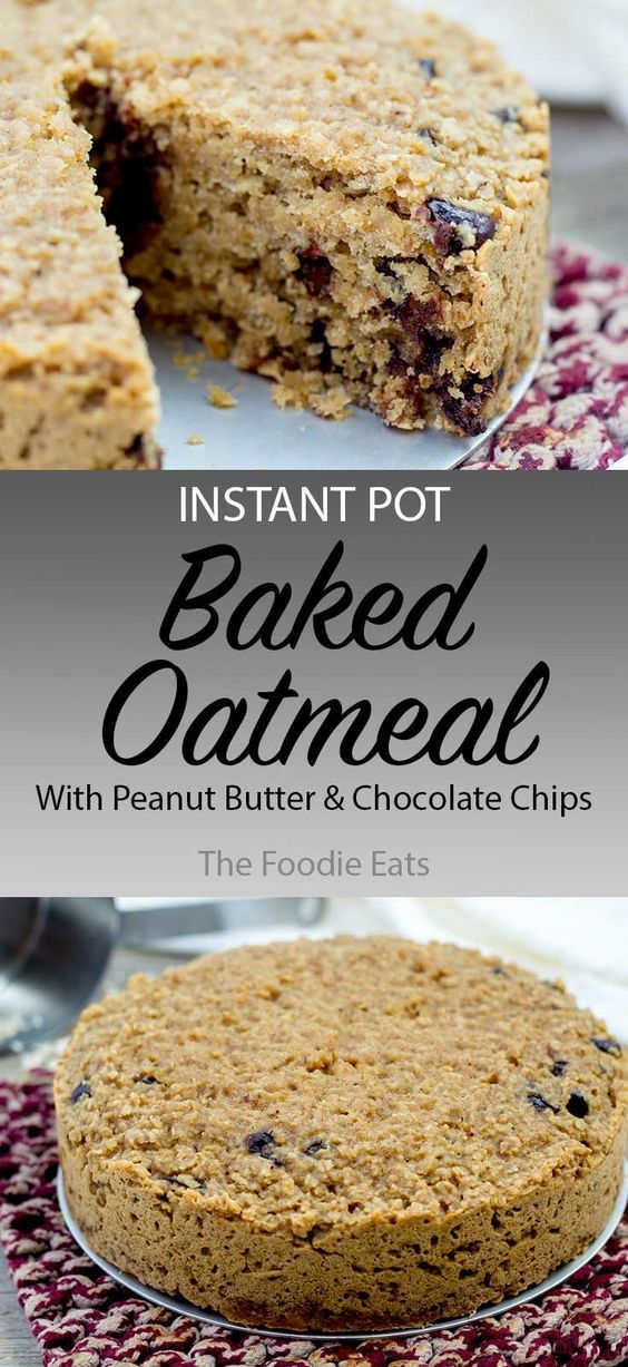 Instant Pot Baked Keto Oatmeal with Peanut Butter & Chocolate Chips