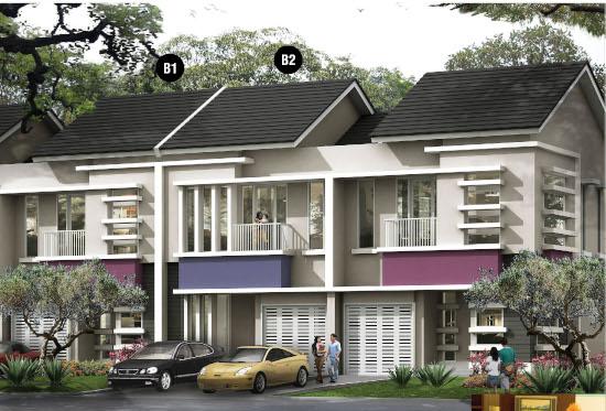tampak depan rumah minimalis ukuran 7x18 meter 5 kamar tidur 2 lantai