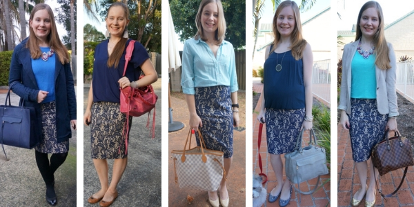 5 monochormatic outfit ideas with a blue textured lace pencil skirt | awayfromtheblue