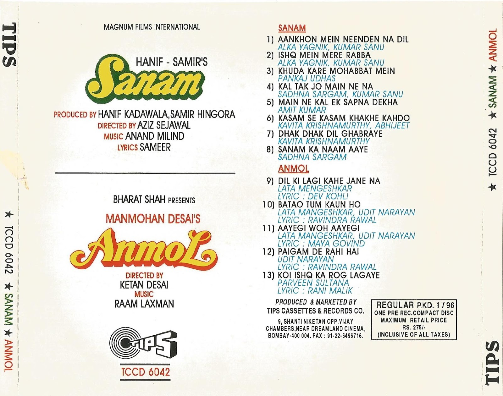 Bollywood Movies Flac, Mp3 Songs Downloaded Here    : Movie : Sanam