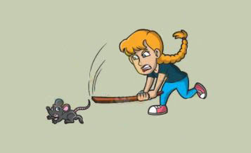 cartoon woman chasing a mouse
