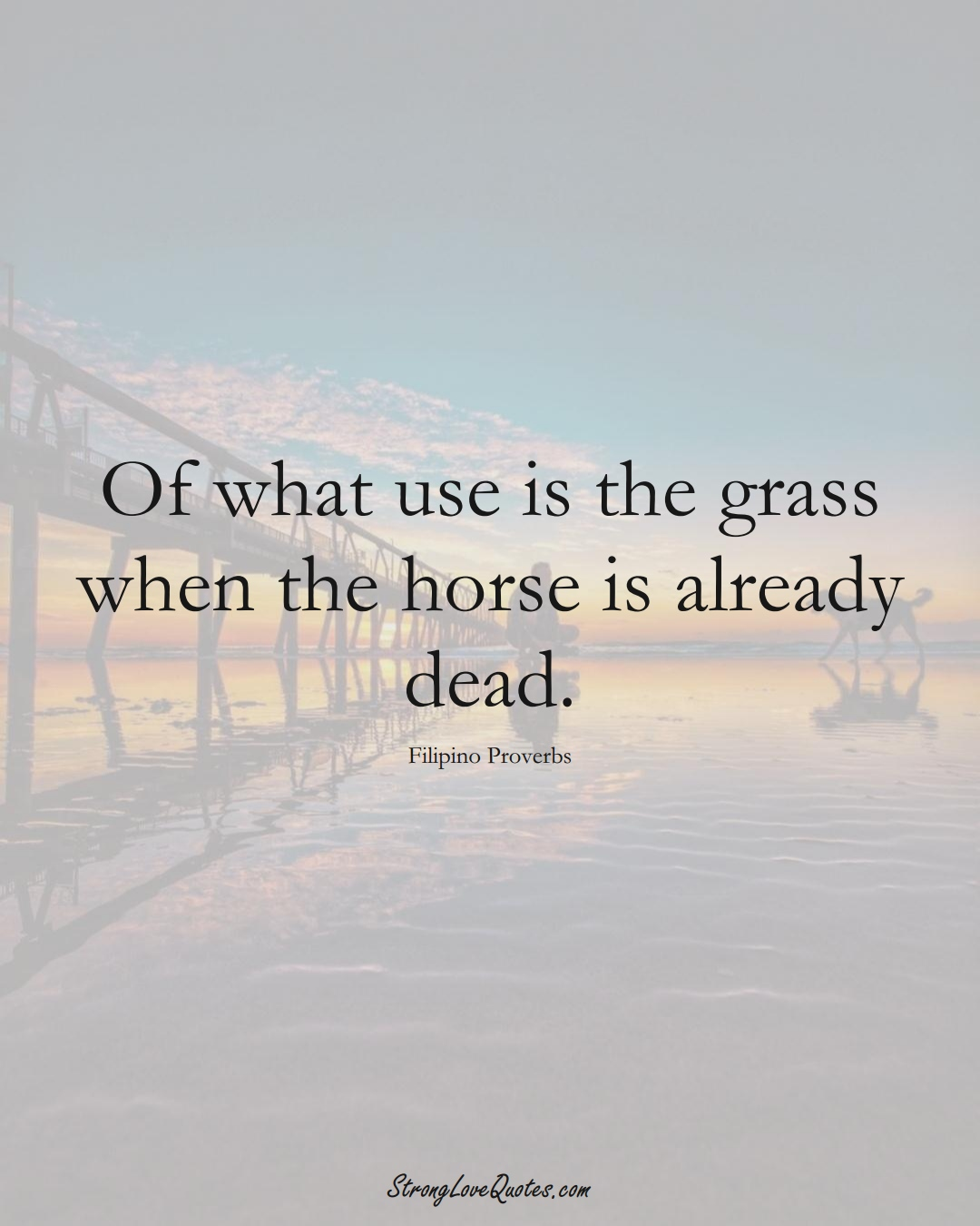 Of what use is the grass when the horse is already dead. (Filipino Sayings);  #AsianSayings