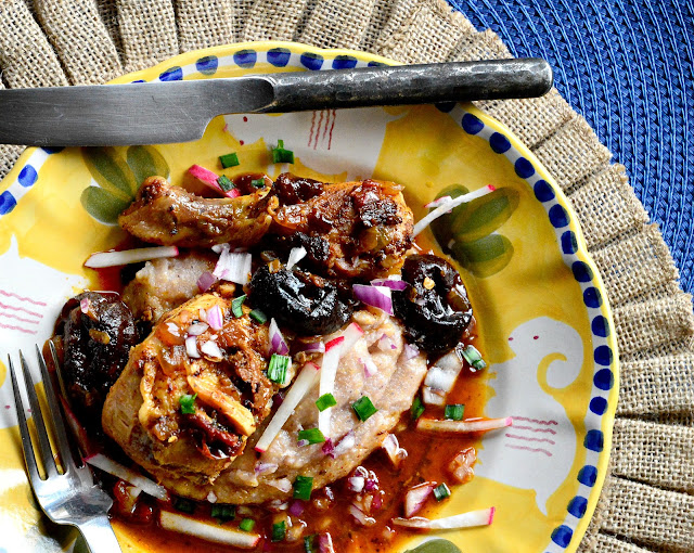 chicken, ancho chilies, prunes