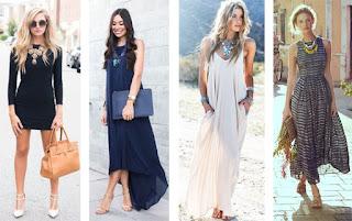 Exemplos de looks de colares statement com vestidos. Com vestido preto curto, com vestido azul escuro comprido, com vestido branco comprido, com vestido estampado comprido.