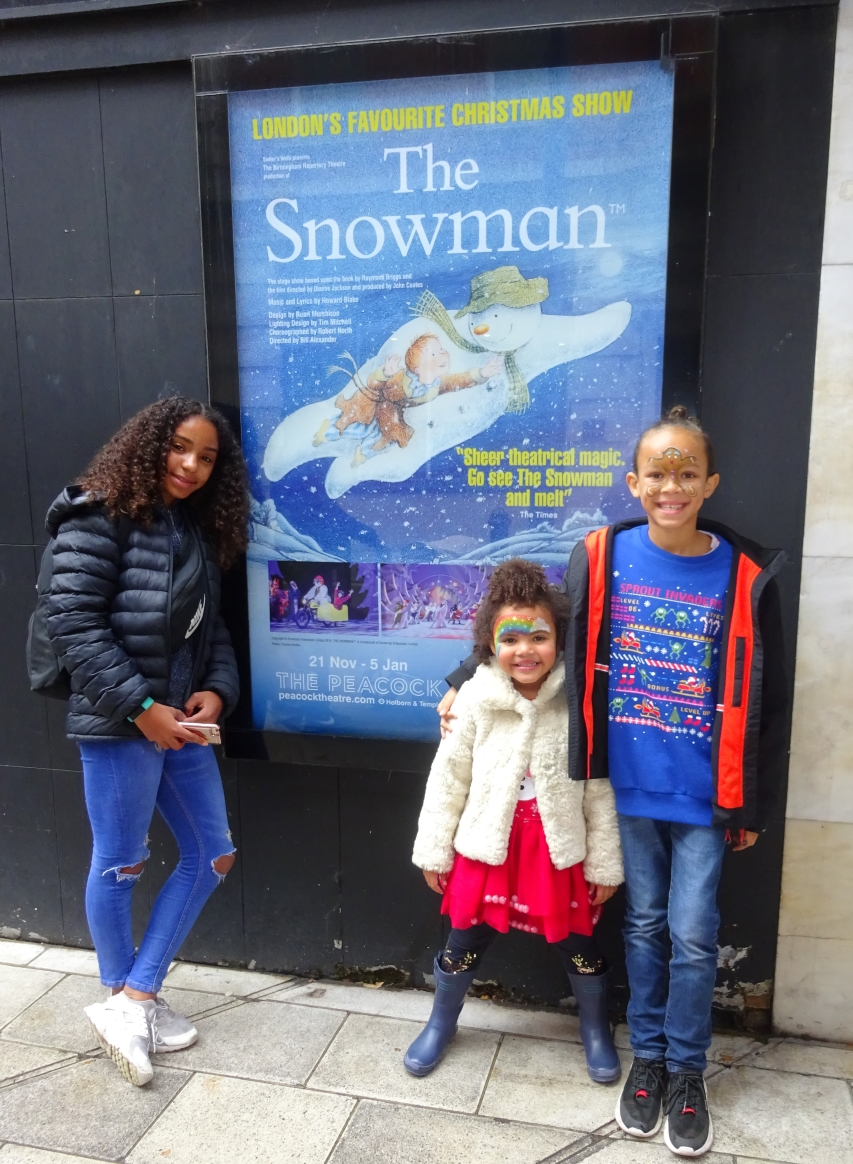 The Peacock Theatre The Snowman official poster and the kids