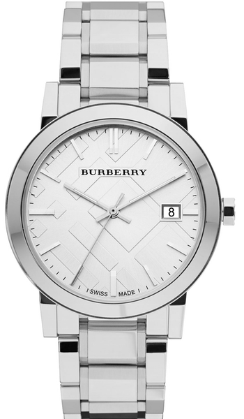 Burberry Large Check Stamped Bracelet Watch, 38mm Silver