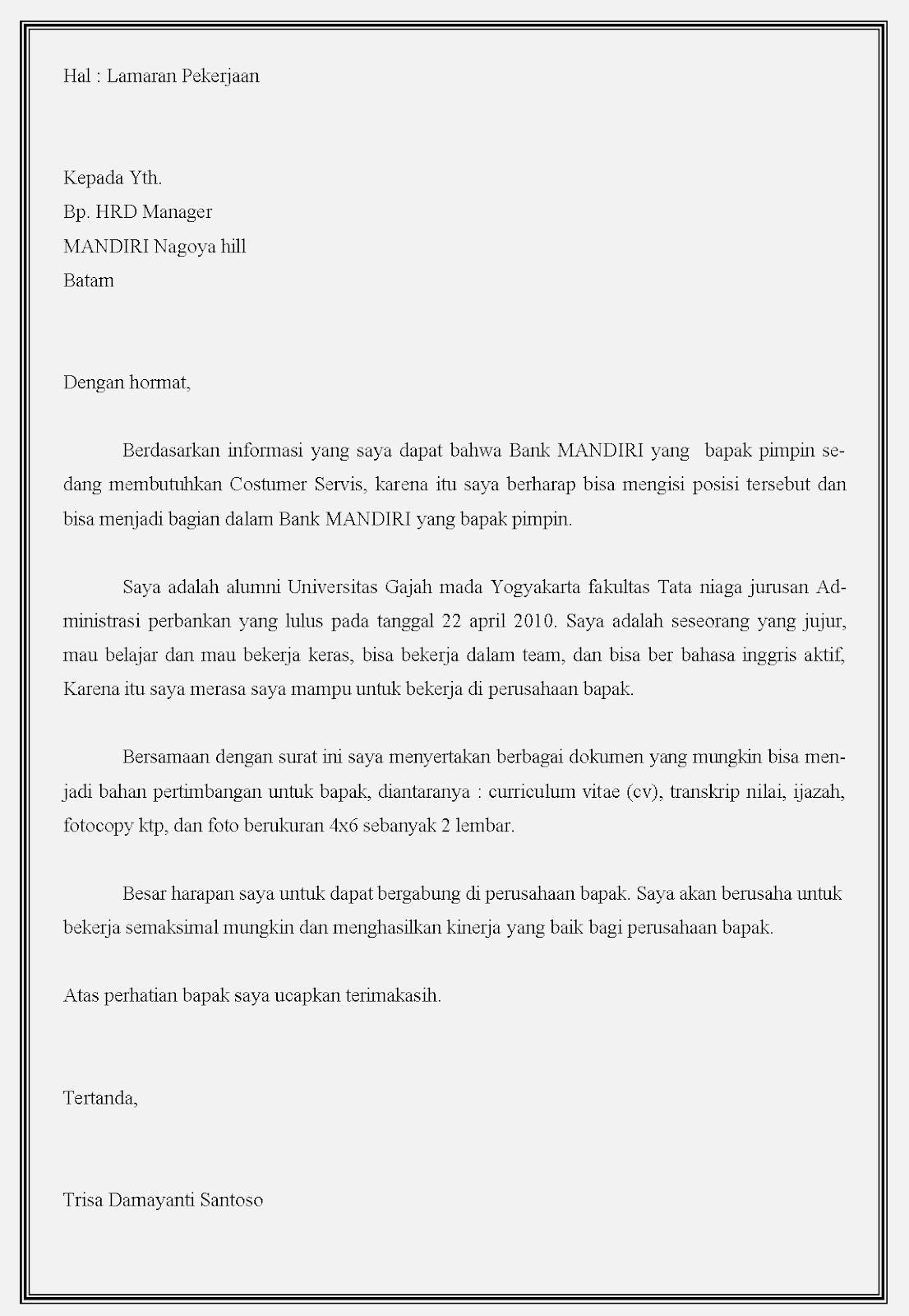 Contoh surat lamaran kerja bank Mandiri yang baik dan benar dalam bahasa Indonesia