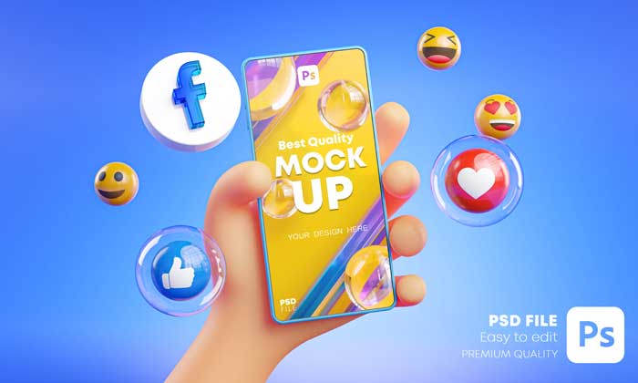 3D Hand Holding Mobile Mockup With Facebook Icons