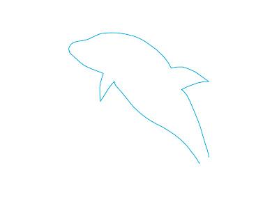 アイコン 「イルカ」 (作: 塚原 美樹) ~ お腹側の輪郭を描く