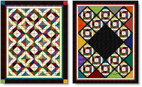 Quilts designed using the DEPRESSION quilt block - images © Wendy Russell