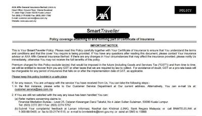AXA Travel Insurance Policy