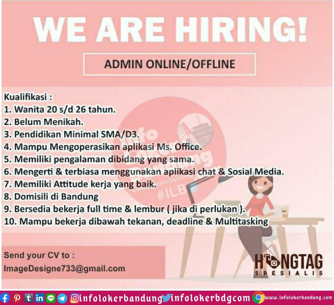 Lowongan Kerja Admin Online / Offline Image Designe ( Hangtag ) Bandung Juni 2020