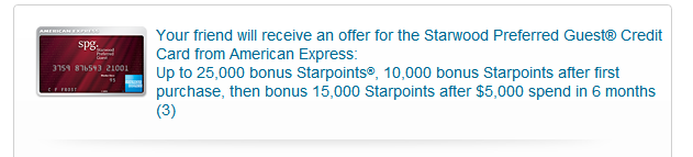 Amex SPG Sign up bonus email list