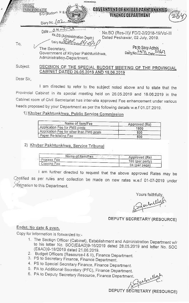 ENHANCEMENT OF APPLICATION AND PROCESSING FEE BY PUBLIC SERVICE COMMISSION AND SERVICE TRIBUNAL KPK