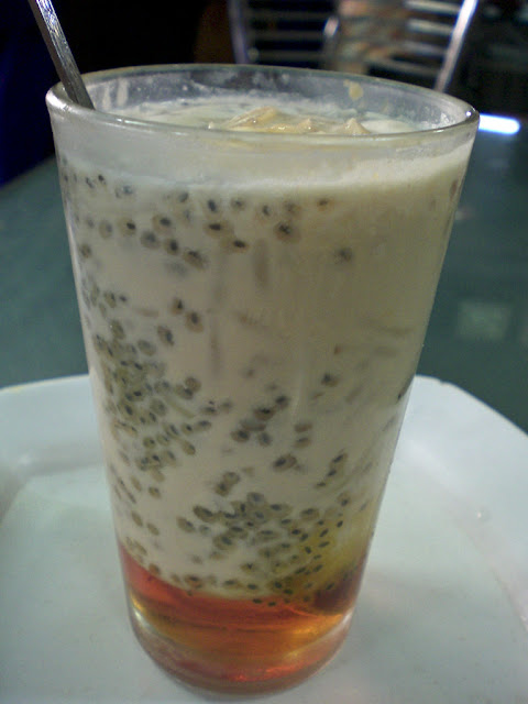Popular Indian Falooda with sweet basil seed aka sabja as a summer drink.