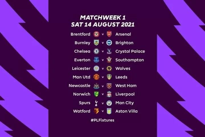 2021/2022 EPL Fixtures have been released