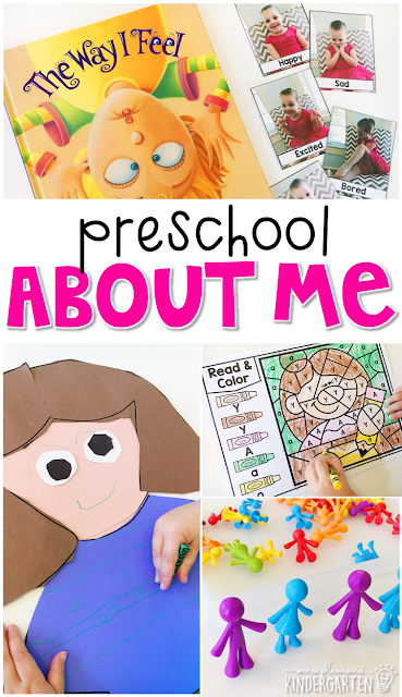 Tons of All About Me theme activities and ideas. Weekly plan includes books, literacy, math, science, art, sensory bins, and more! Perfect for tot school, preschool, or kindergarten.