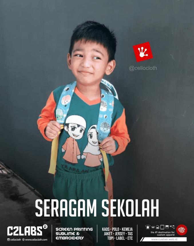 Seragam Sekolah Anak TK Islami Sablon Kaos Jogja - Cello CLoth