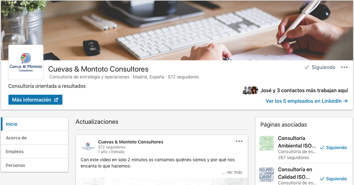 Página en LinkedIn de Cuevas y Montoto Consultores