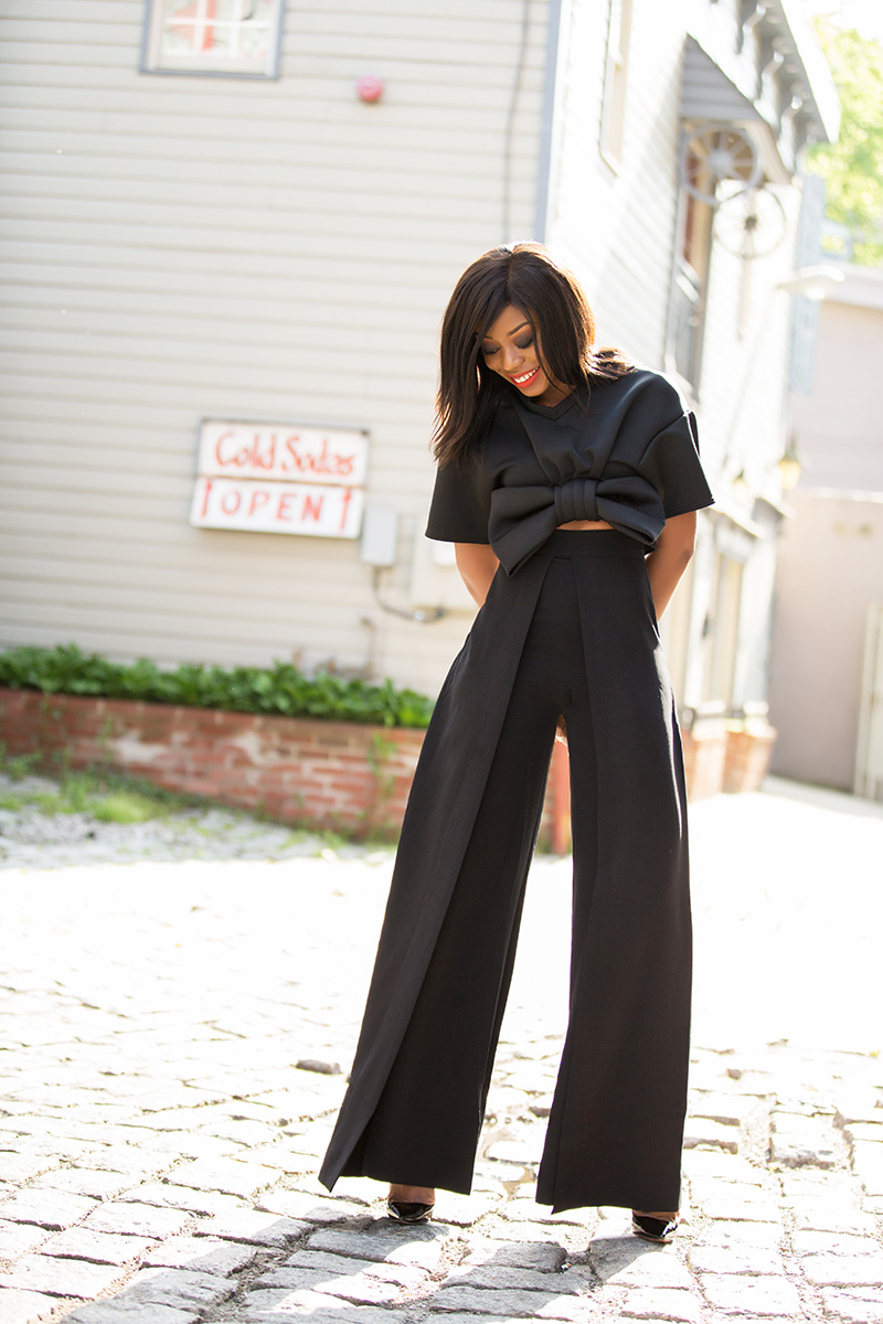 boohoo bow front crop, aqaq wide leg trouser, www.jadore-fashion.com