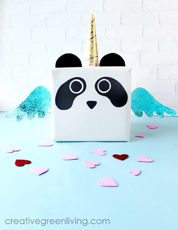 How to make a pandacorn panda unicorn valentine box